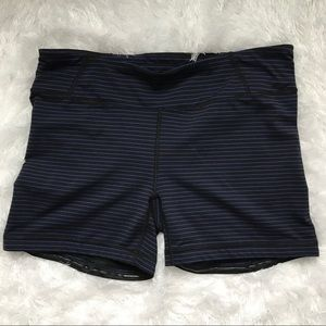 Lucy Black Blue Stripe Workout Yoga Shorts Large